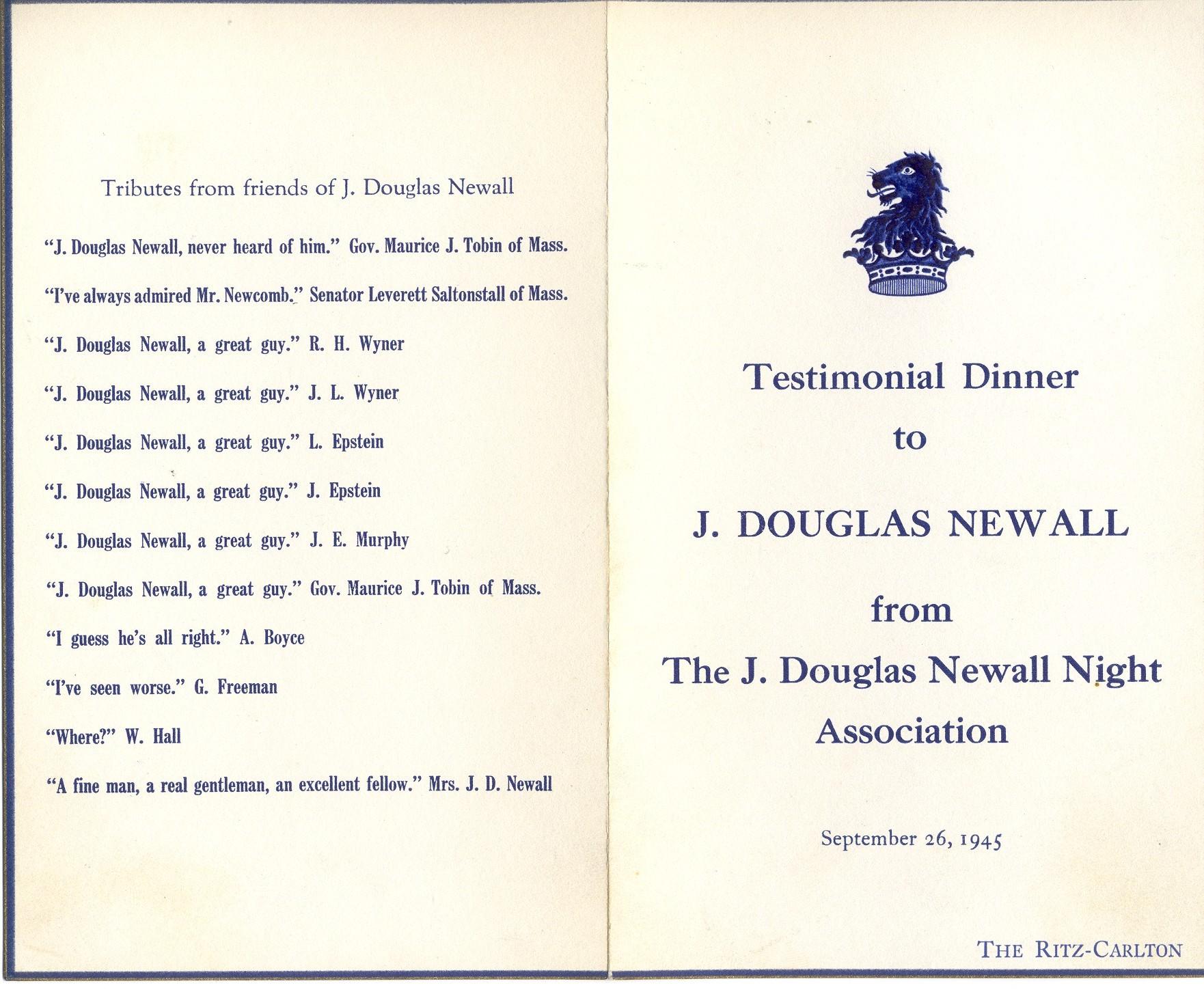 Testimonial Dinner to J. Douglas Newall - Cover